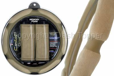 Dashcessories - Comfort Grips™ Combo Packs - Tan Multi Grip Steering Wheel Cover / 2 Tan Seat Belt Cushions Combo Pack