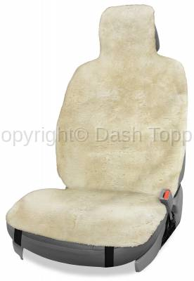 Topcessories - Seat Topper™ Sheepskin Covers - Seat Topper™ Sheepskin Topper Beige With Headrest Cover