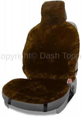 Topcessories - Seat Topper™ Sheepskin Covers - Seat Topper™ Sheepskin Topper Brown With Headrest Cover