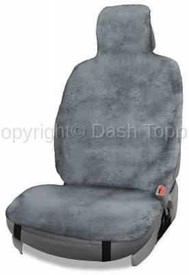 Topcessories - Seat Topper™ Sheepskin Covers - Seat Topper™ Sheepskin Topper Gray With Headrest Cover
