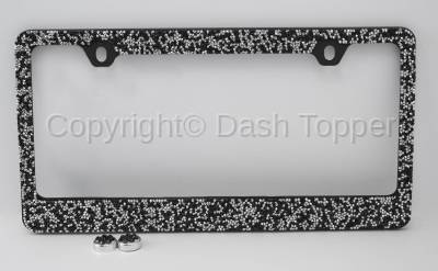 Topcessories - License Plate Frames - Black/Silver Crushed Crystal License Plate Frame