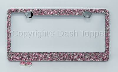 Topcessories - License Plate Frames - Pink/Silver Crushed Crystal License Plate Frame