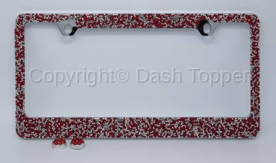 Topcessories - License Plate Frames - Red/Silver Crushed Crystal License Plate Frame