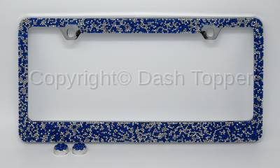 Topcessories - License Plate Frames - Blue/Silver Crushed Crystal License Plate Frame